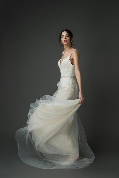 Tulle fitted A-Line wedding dress style, champagne wedding gowns, beaded straps