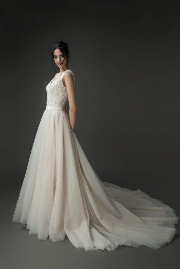 romantic blush ballgown wedding dress styles, lace bridal dress