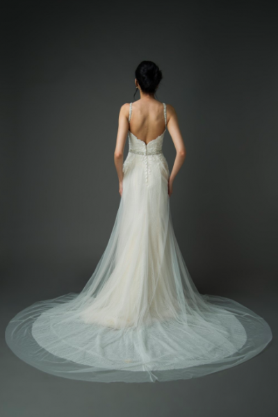hybrid wedding dress styles, tulle Champagne skirt, lace button up back