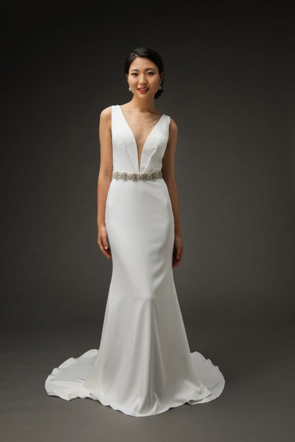 Simple classic wedding dress styles, deep v crepe wedding gowns