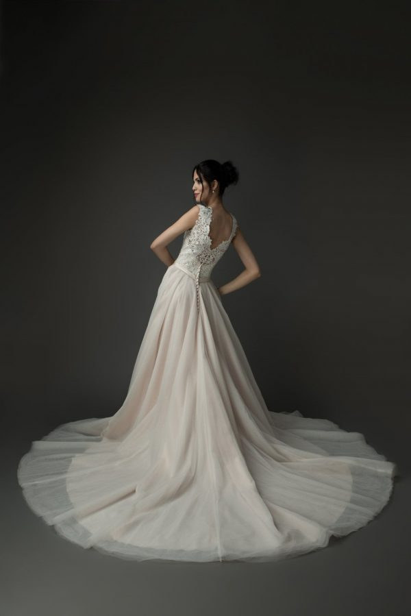 blush wedding gowns, A-line ballgown, lace beaded