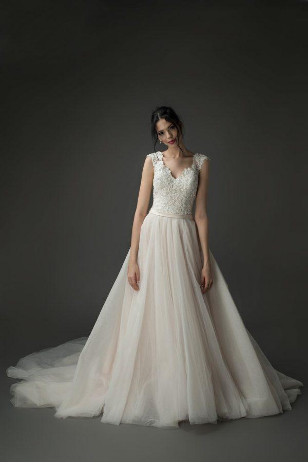 pink wedding gowns, blush wedding dress ballgown, ivory lace