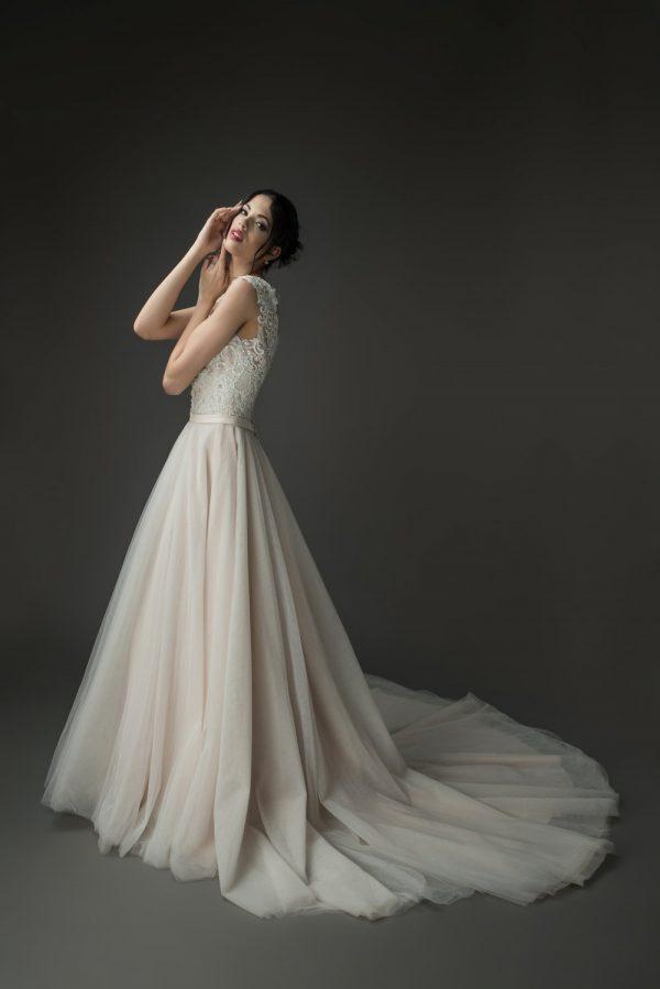 blush wedding dress, pink ballgown with lace