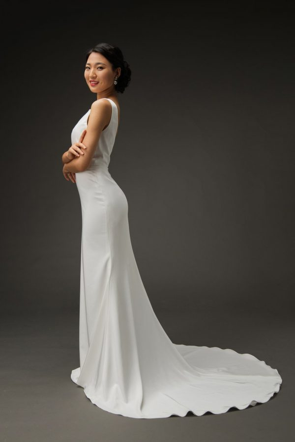 classic simple crepe wedding dress, fit flare