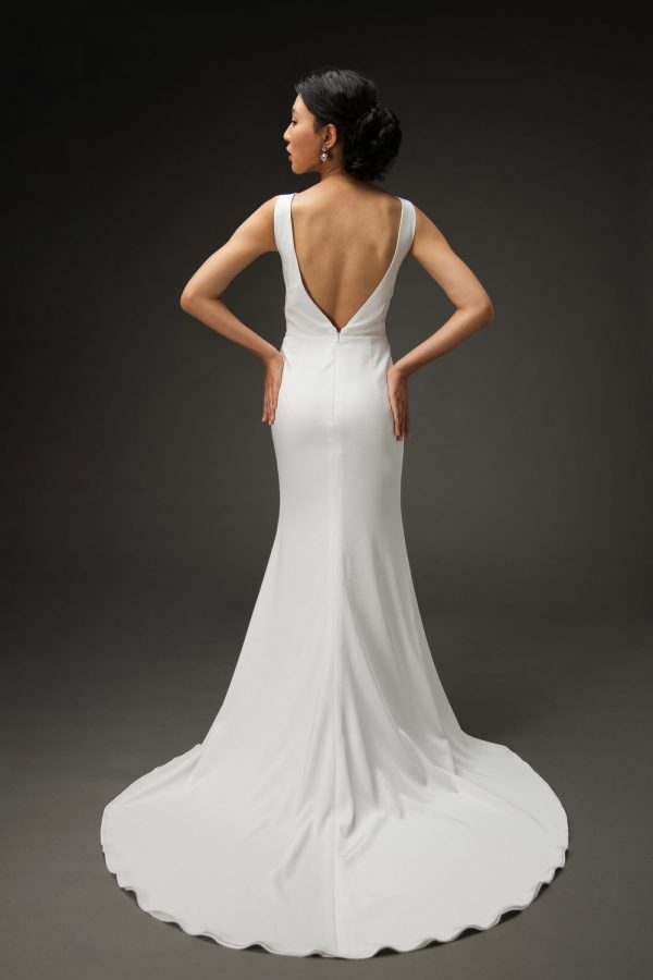 classic simple wedding dress with low V back