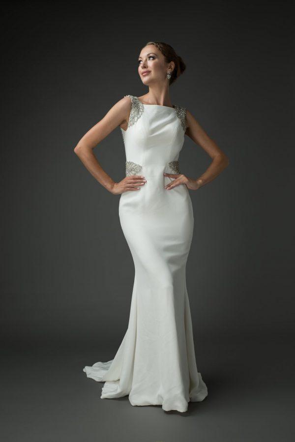 classic crepe wedding dress beaded design
