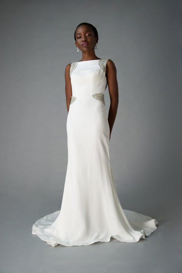 high neck wedding dress styles, Glam wedding gown
