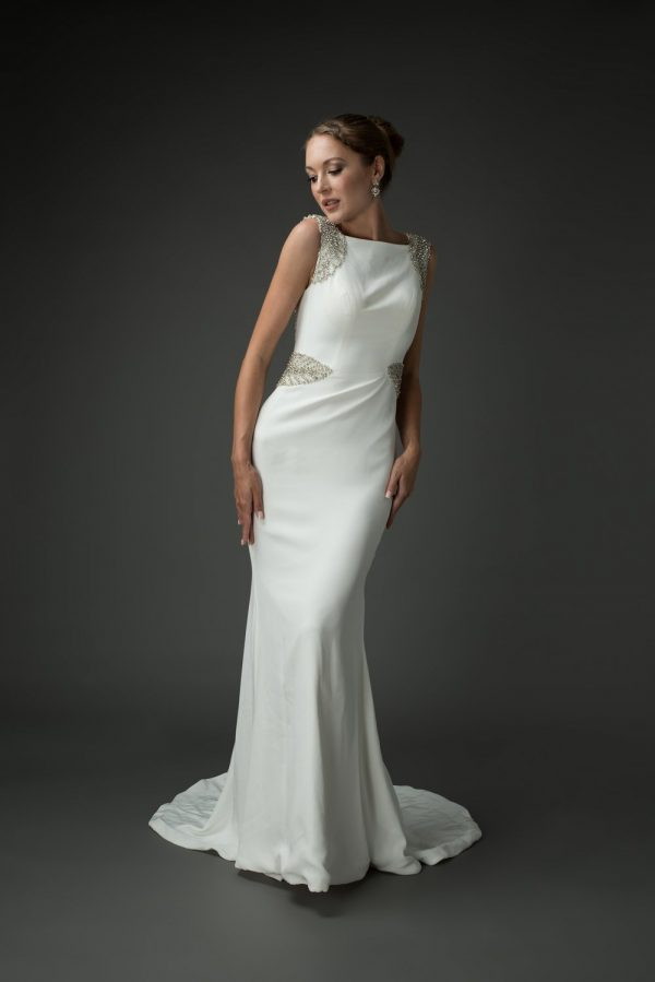 classic wedding dress, high-neck, old Hollywood glamour