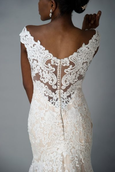 Grace + Ivory Juliette gown, lace illusion button up back details, champagne and ivory wedding dress