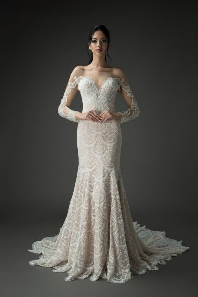vintage lace wedding gown with mesh sleeves, beaded sparkle
