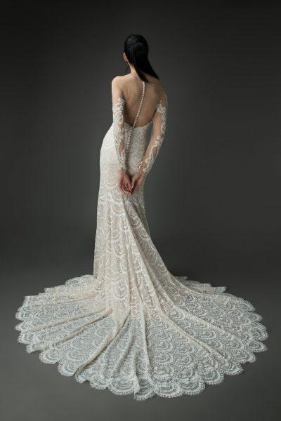 vintage lace scalloped train wedding dress, beaded sleeve