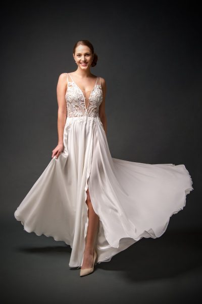 wedding dress with slit, A-line chiffon wedding gowns, beaded V