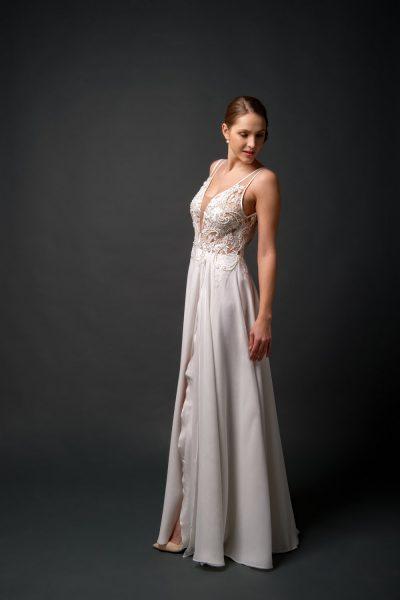 chiffon wedding dress A-line, beaded top wedding dress, affordable styles