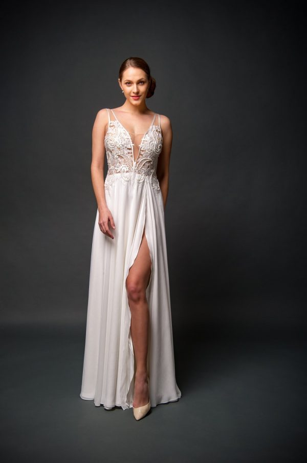 affordable wedding dress with slit, ivory chiffon skirt, beaded low v top.