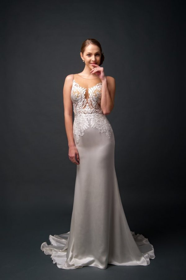 sexy satin wedding gown, illusion lace wedding tops