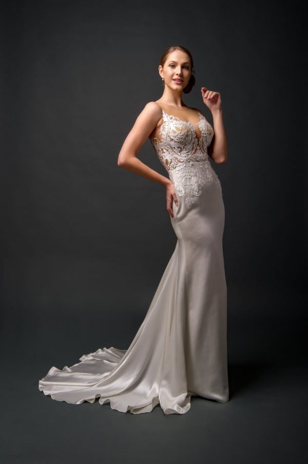 satin silk fitted wedding dress, lace illusion styles