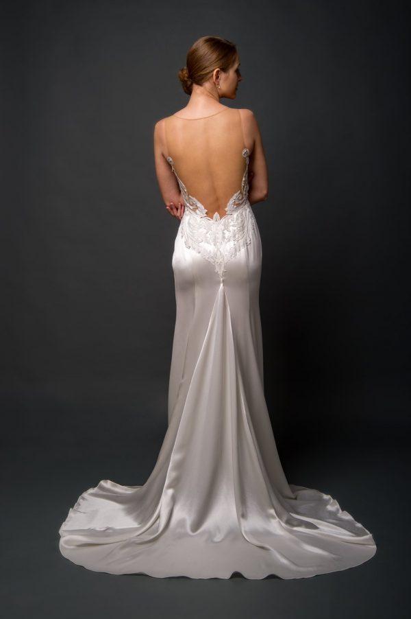 silk satin wedding dress with open mesh low back