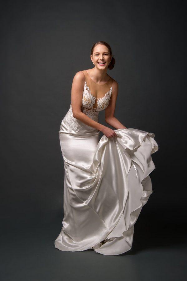 Grace + Ivory Sienna dress, silk-satin sexy wedding dress style