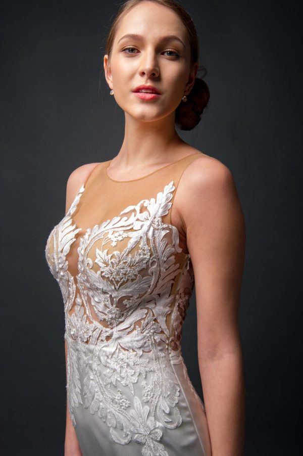 illusion lace wedding dress, silk satin fitted skirt