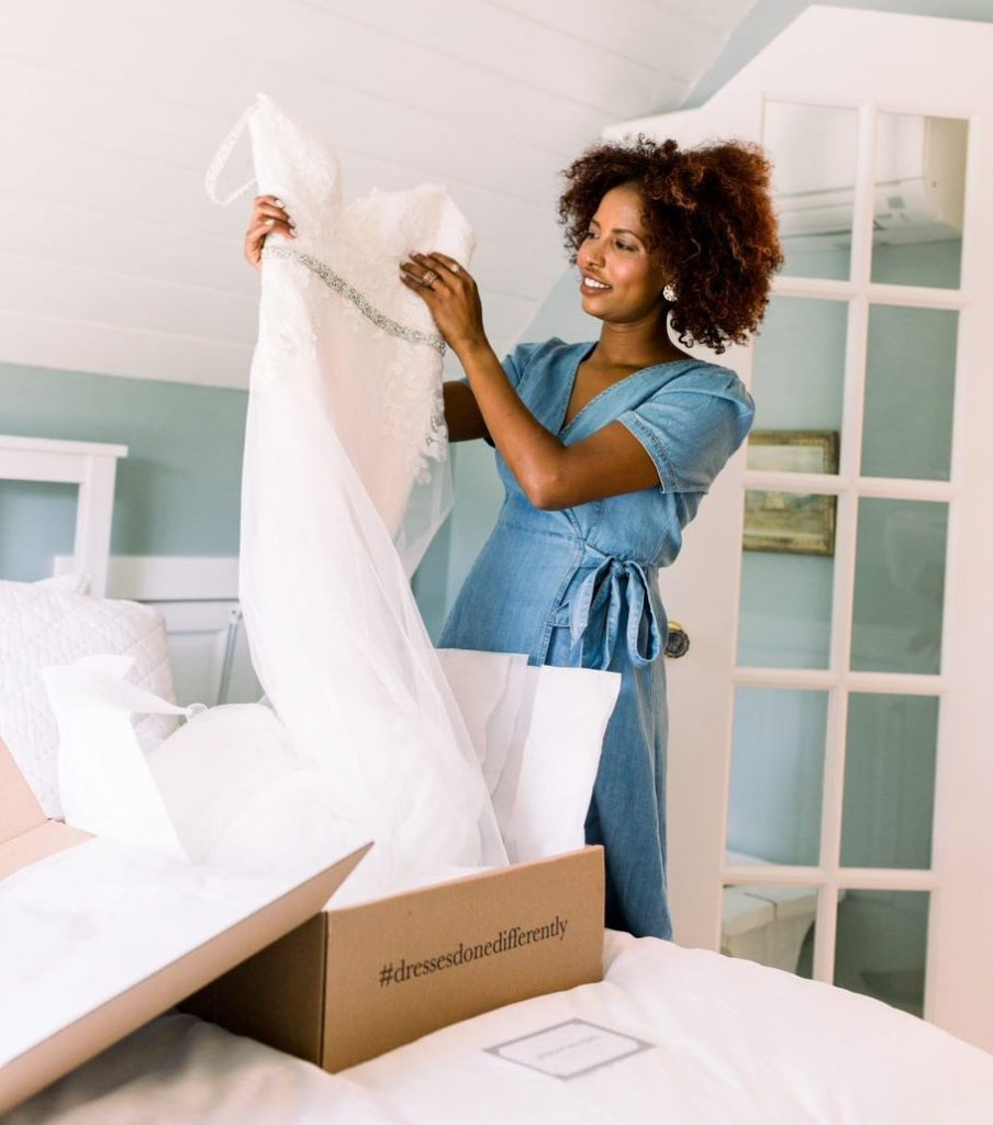 Try-at-home wedding dress arriving at a bride's home