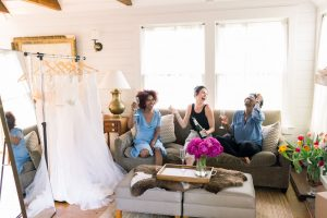 try-at-home wedding dress scene champagne toast