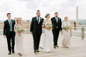 classic wedding bridal party looks champagne and black