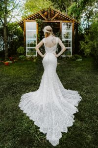 All over lace wedding gown bohemian greenhouse shoot