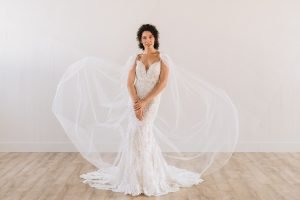 Nude underlay wedding dress with ivory lace fitted sparkle