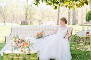 non-white wedding dress blush ballgown