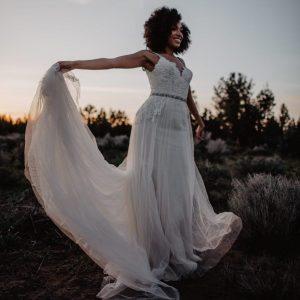Champagne wedding dress tulle skirt beaded band