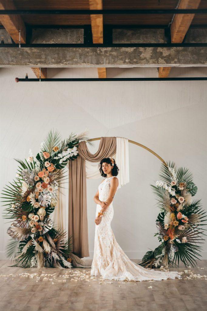 non-white wedding dress peach ivory lace