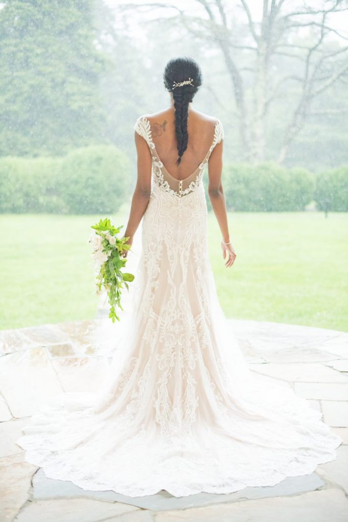 blush wedding dress fitted lace low back